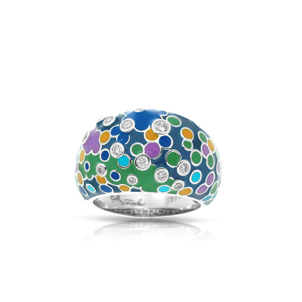 Belle Etoile Artiste Collection hand-painted blue and multicolored Italian enamel with pave-set stones ring.