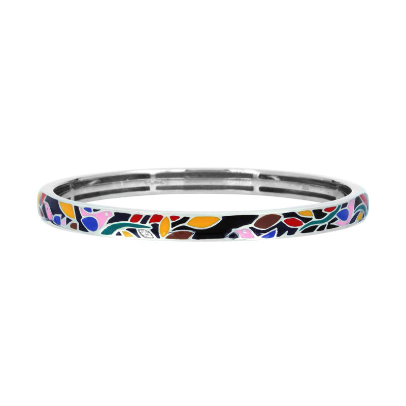 Belle Etoile Constellations Birds Collection hand-painted multiple color Italian enamel with white stones bangle bracelet.