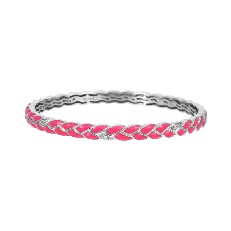 Belle Etoile Constellations Braid Collection hand painted hot pink Italian enamel with pave-set stones bangle bracelet.