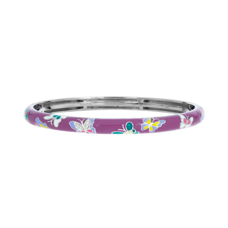 Belle Etoile Constellations Butterfly Collection hand painted purple and multiple color Italian enamel bangle bracelet.