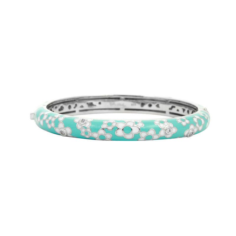 Belle Etoile Constellations Daisies Collection hand-painted blue Italian enamel with white stones bangle bracelet.