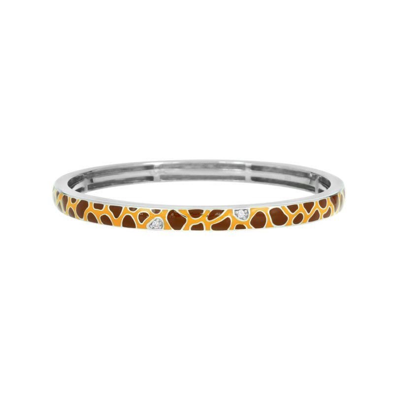 Belle Etoile Constellations Giraffe Collection hand-painted yellow and brown Italian enamel with white stones bangle bracelet.