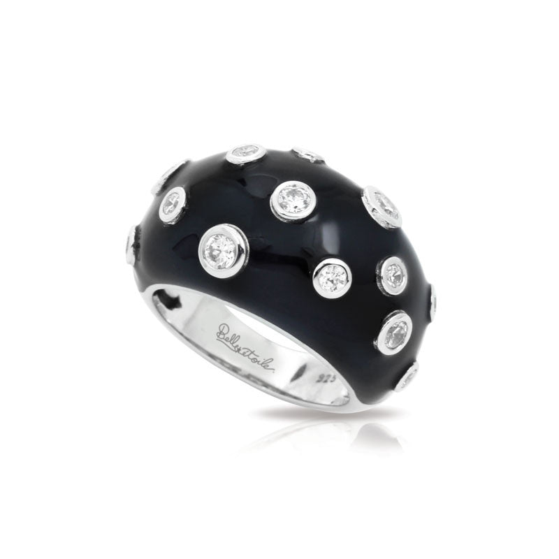 Belle Etoile Constellations Glitter Collection hand-painted black Italian enamel with white stones ring.
