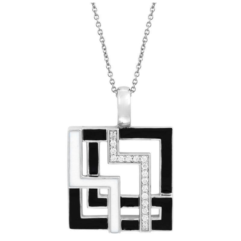Belle Etoile Convergence Collection hand-painted black and white Italian enamel with pave-set stones pendant.