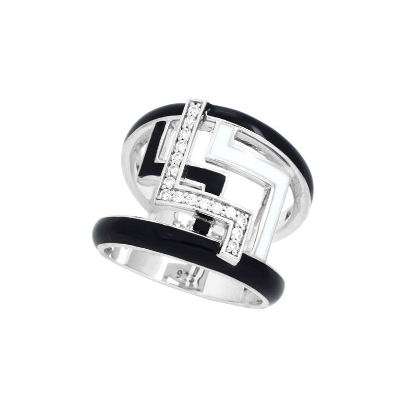 Belle Etoile Convergence Collection hand-painted black and white Italian enamel with pave-set stones ring.