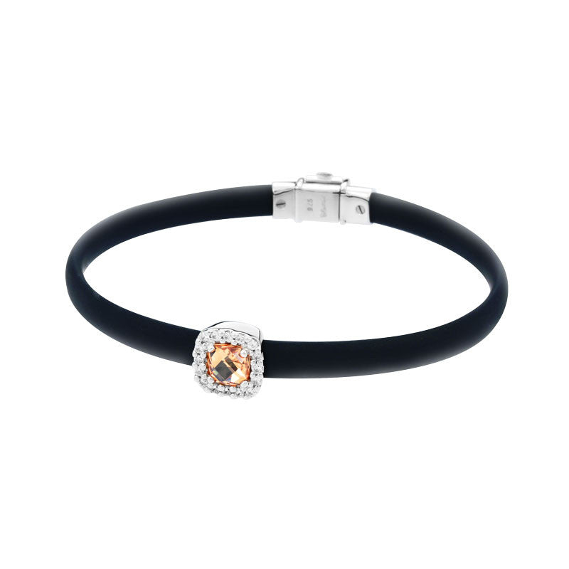 Belle Etoile Diana Collection hand-strung black Italian rubber with champagne and white stones bracelet.