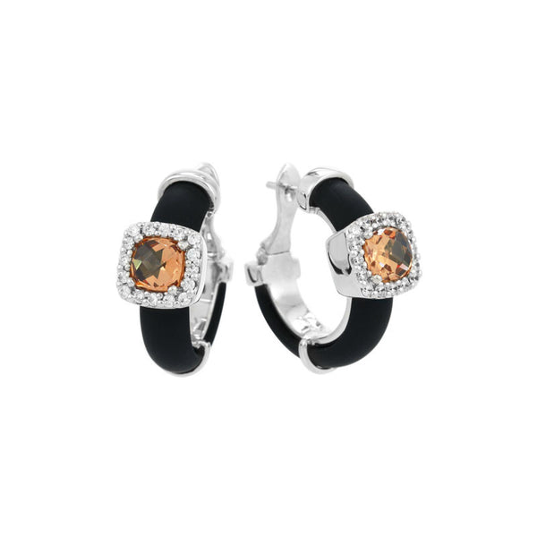 Belle Etoile Diana Collection hand-strung black Italian rubber with champagne and white stones earring.