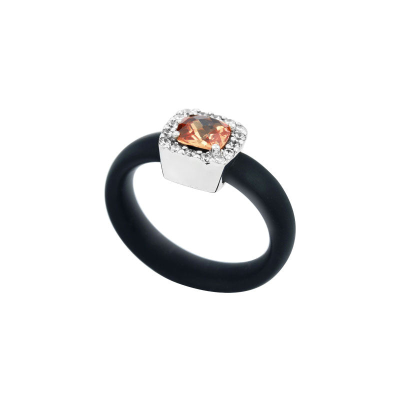 Belle Etoile Diana Collection hand-strung black Italian rubber with champagne and white stones ring.