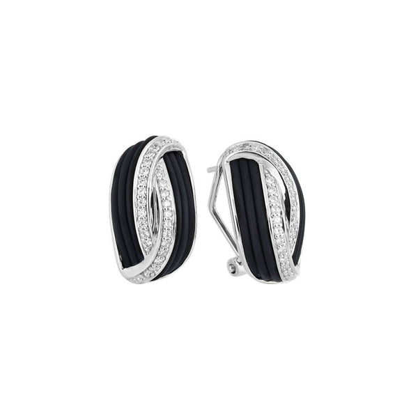 Belle Etoile Eterno Collection hand-strung black Italian rubber with white stones earring.