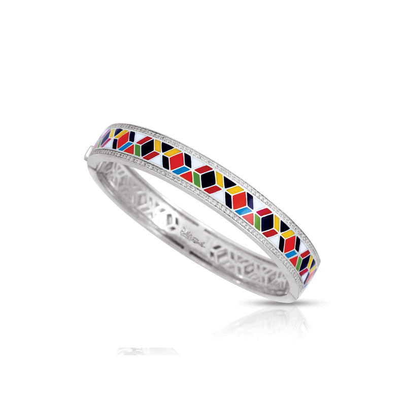 Belle Etoile Forma Collection hand-painted multicolored Italian enamel with pave-set stones bangle bracelet.