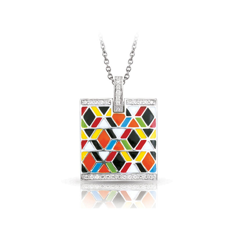 Belle Etoile Forma Collection hand-painted multicolored Italian enamel with pave-set stones pendant.