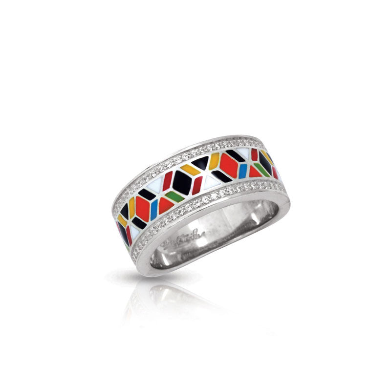 Belle Etoile Forma Collection hand-painted multicolored Italian enamel with pave-set stones ring.