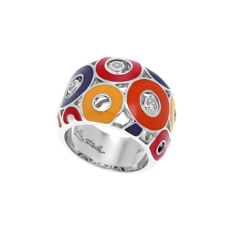 Belle Etoile Nova Collection hand-painted red and multiple color Italian enamel with white stones ring.
