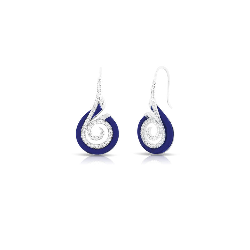 Belle Etoile Oceana Collection hand-strung blue Italian rubber with white stones earring.