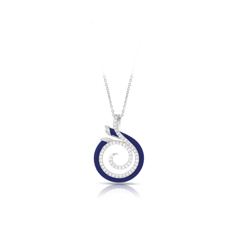 Belle Etoile Oceana Collection hand-strung blue Italian rubber with white stones pendant.