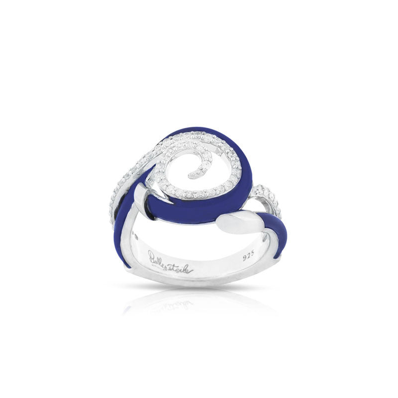 Belle Etoile Oceana Collection hand-strung blue Italian rubber with white stones ring.