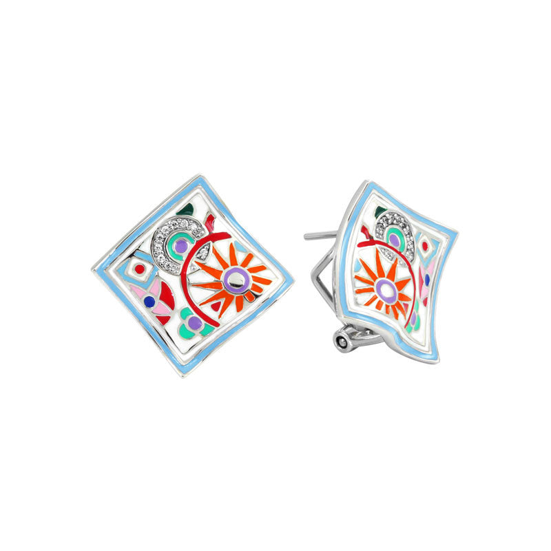 Belle Etoile Pashmina Collection hand-painted multiple color Italian enamel with white stones earring.