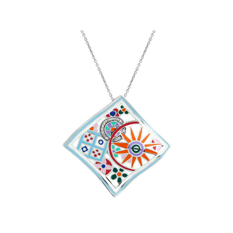 Belle Etoile Pashmina Collection hand-painted multiple color Italian enamel with white stones pendant.