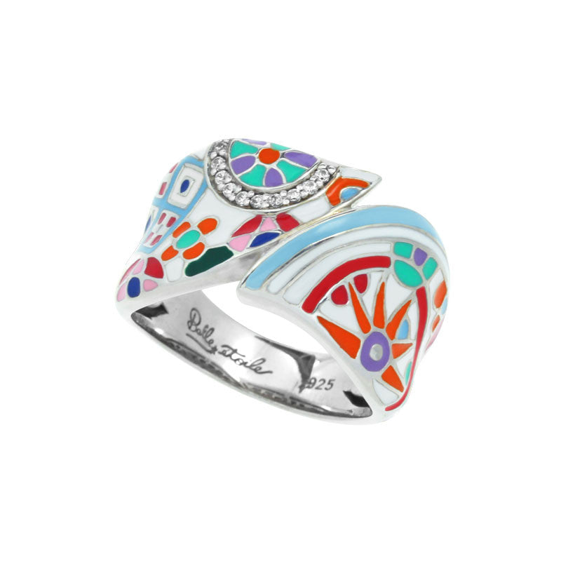 Belle Etoile Pashmina Collection hand-painted multiple color Italian enamel with white stones ring.
