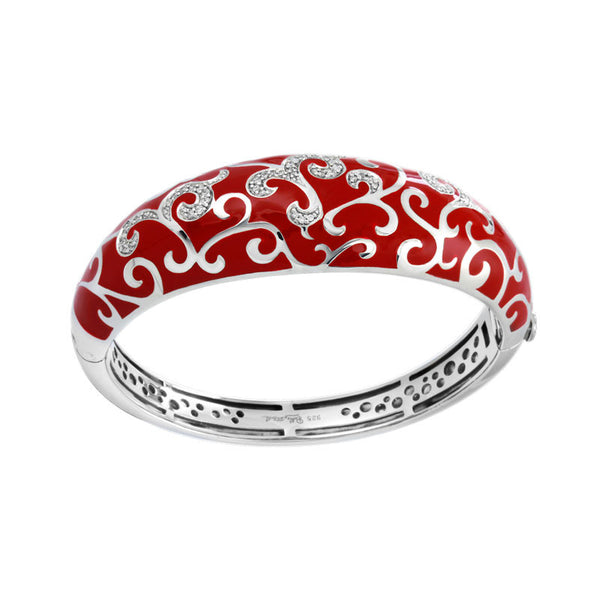 Belle Etoile Royale Collection hand-painted red Italian enamel with white stones bangle bracelet.