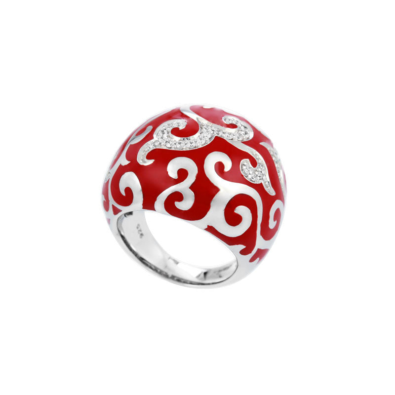 Belle Etoile Royale Collection hand-painted red Italian enamel with white stones ring.