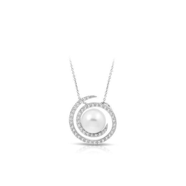Belle Etoile Thea Collection white seashell pearls with white stones pendant.