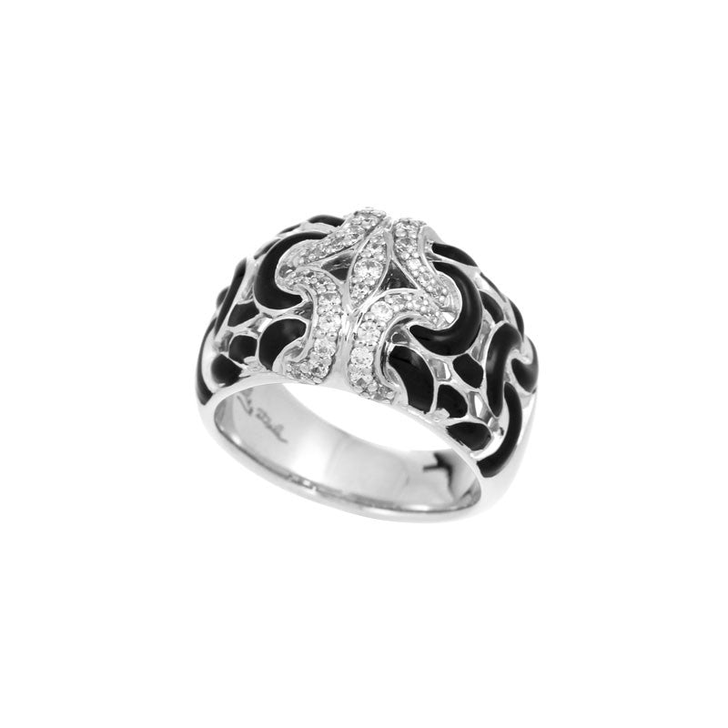 Belle Etoile Toujours Collection hand-painted black Italian enamel with white stones ring.