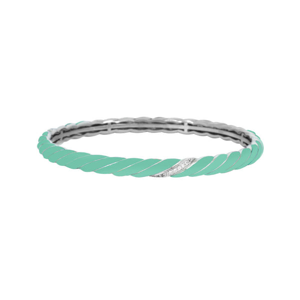 Belle Etoile Constellations Twist Collection hand-painted aquamarine Italian enamel on bangle bracelet.