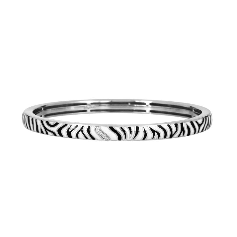 Belle Etoile Constellations Zebra Collection hand-painted white and black Italian enamel with white stones bangle bracelet.