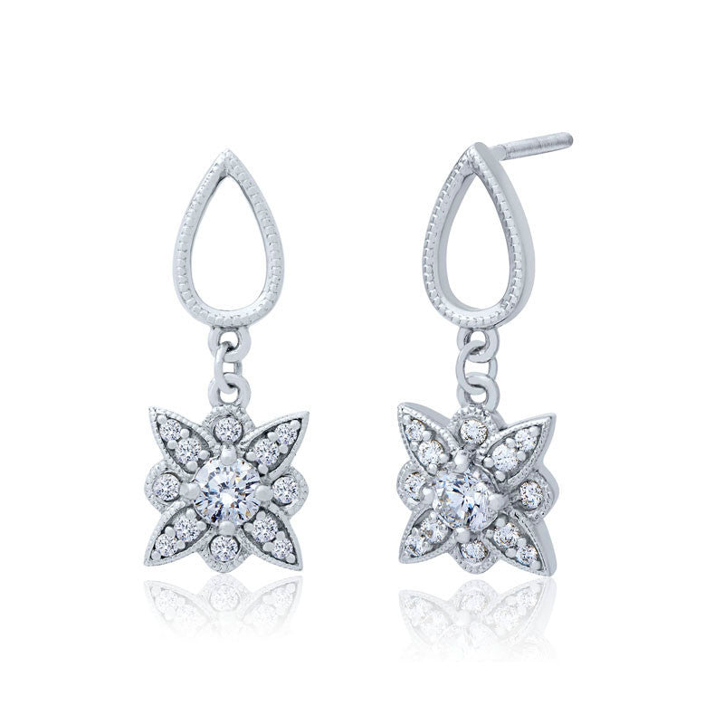 Forevermark Devotion Cut Diamond Drop Floral Earrings