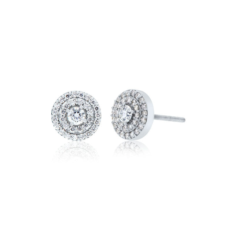 Forevermark Devotion Cut Diamond Double Halo Earrings