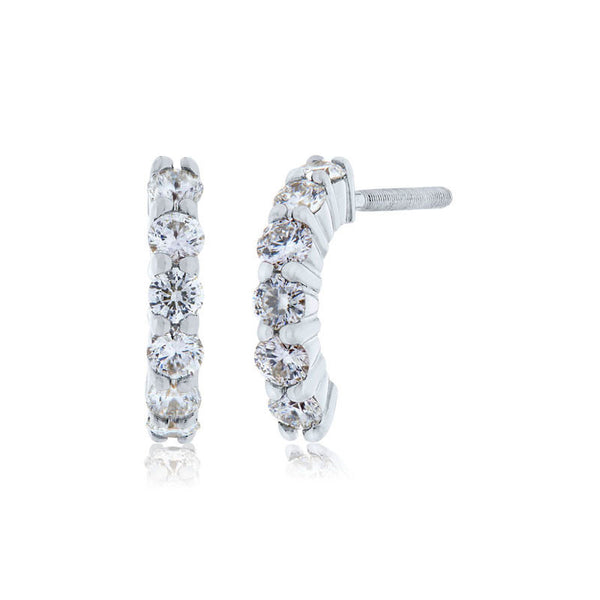 Forevermark Devotion Cut Diamond Curved Diamond Earrings