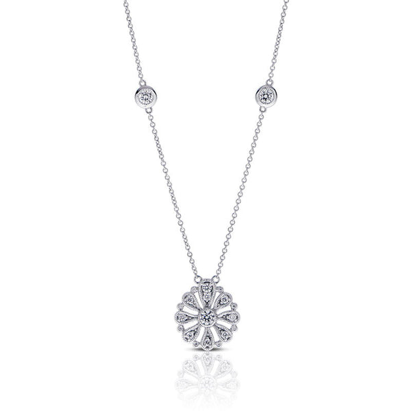 Forevermark Devotion Cut Diamond Floral Circle Necklace