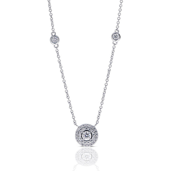 Forevermark Devotion Cut Diamond Double Halo Necklace