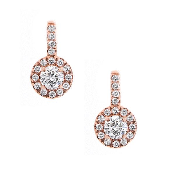Forevermark Center of My Universe Rose Gold Drop Earrings, 1.05 total carat