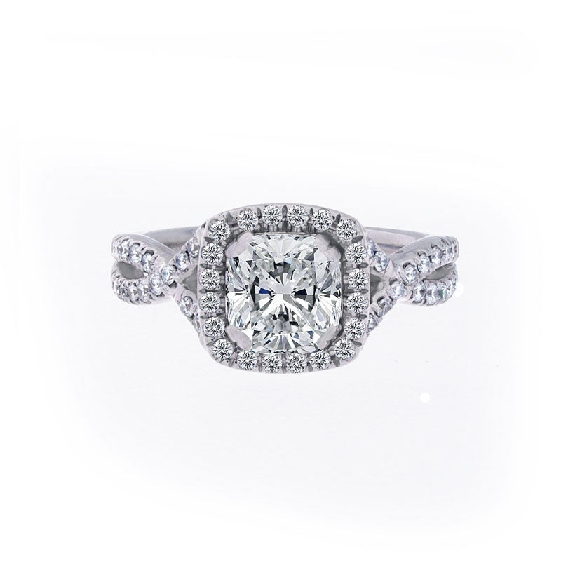 Forevermark Infinity Halo Engagement Ring for Cushion Cut Diamond Center