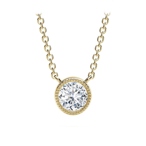 Forevermark Tribute™ Round Diamond Milgrain Bezel Necklace