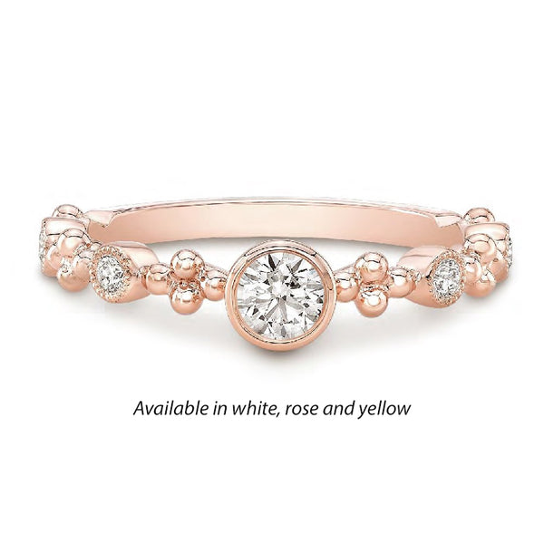 Forevermark Tribute™ Diamond Bead and Bezel Stack Band