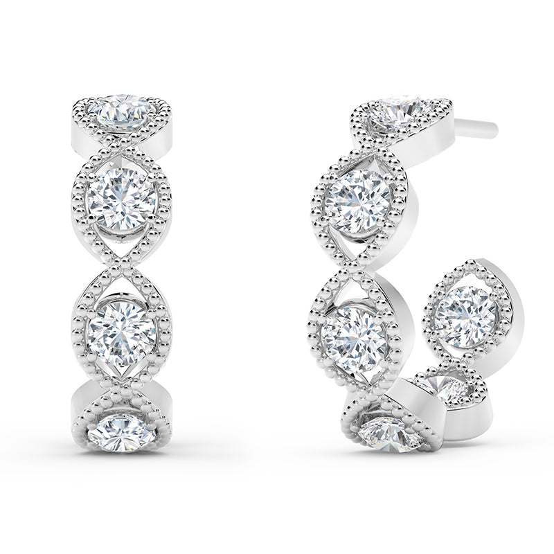 Forevermark Tribute™ Round Diamond Bezel Hoop Earrings