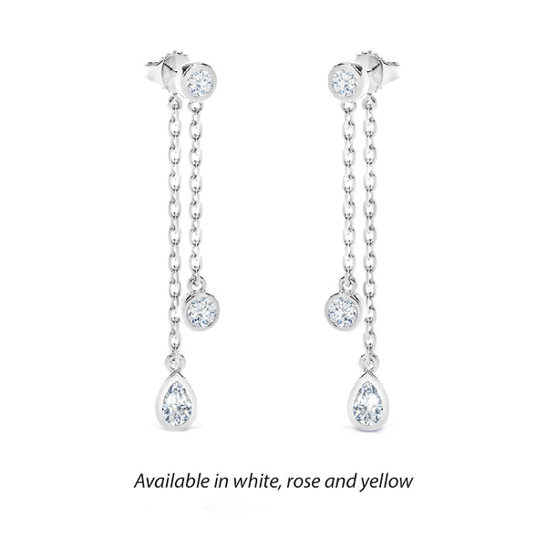 Forevermark Tribute™ Round and Pear Diamond Drop Earrings