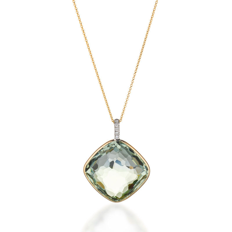 Como Collection 18mm Cushion Prasiolite with Diamond Pendant