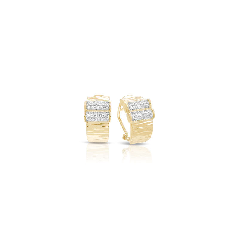 Belle Etoile Heiress Collection 18 karat yellow gold vermeil on sterling silver with pave-set stones earring.