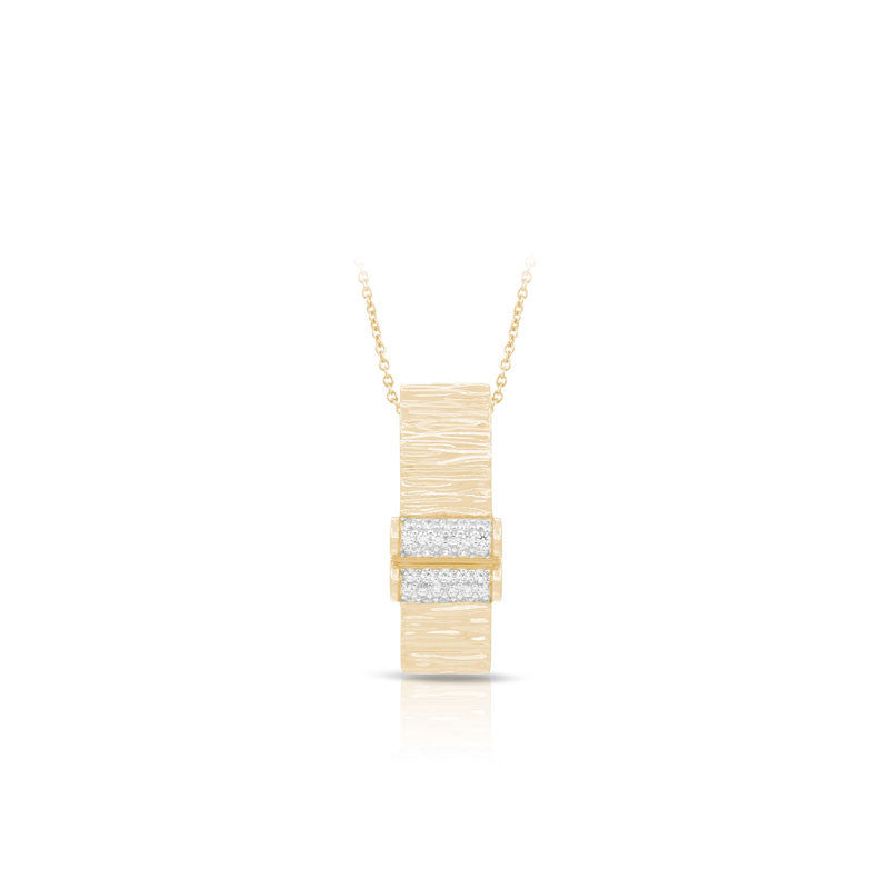 Belle Etoile Heiress Collection 18 karat yellow gold vermeil on sterling silver with pave-set stones pendant.