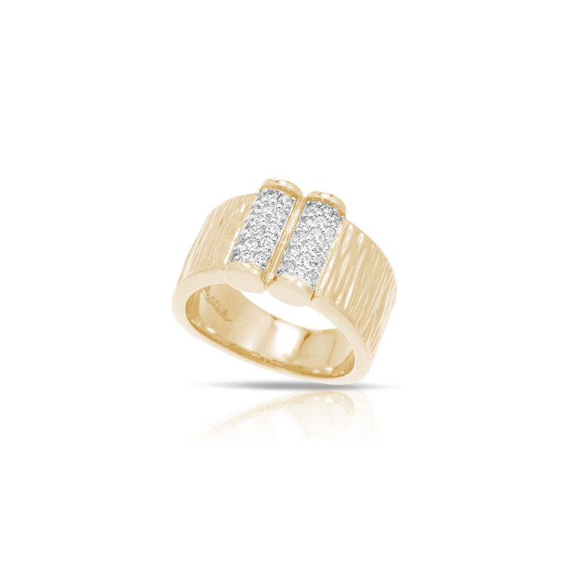 Belle Etoile Heiress Collection 18 karat yellow gold vermeil on sterling silver with pave-set stones ring.