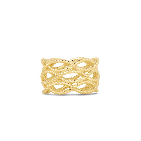Barocco 18 karat Gold three row ring