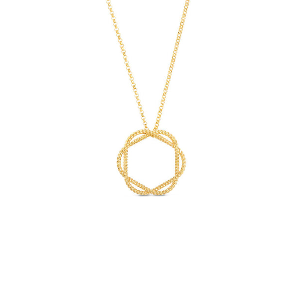 Barocco 18 karat yellow gold circle pendant