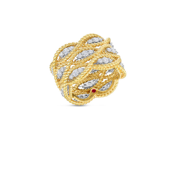 Barocco 18 karat yellow and white gold three row diamond ring
