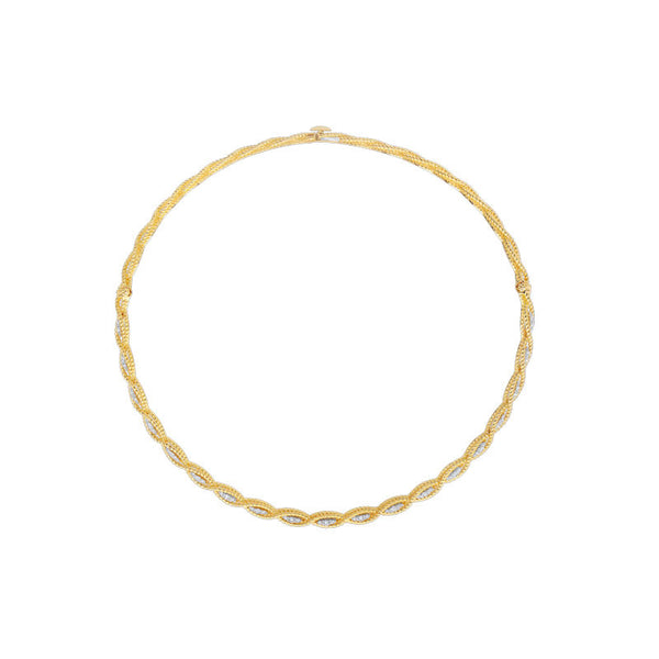Barocco 18 karat yellow and white diamond collar necklace