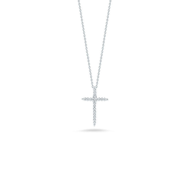 Tiny Treasures 18 karat white gold diamond sliver cross pendant