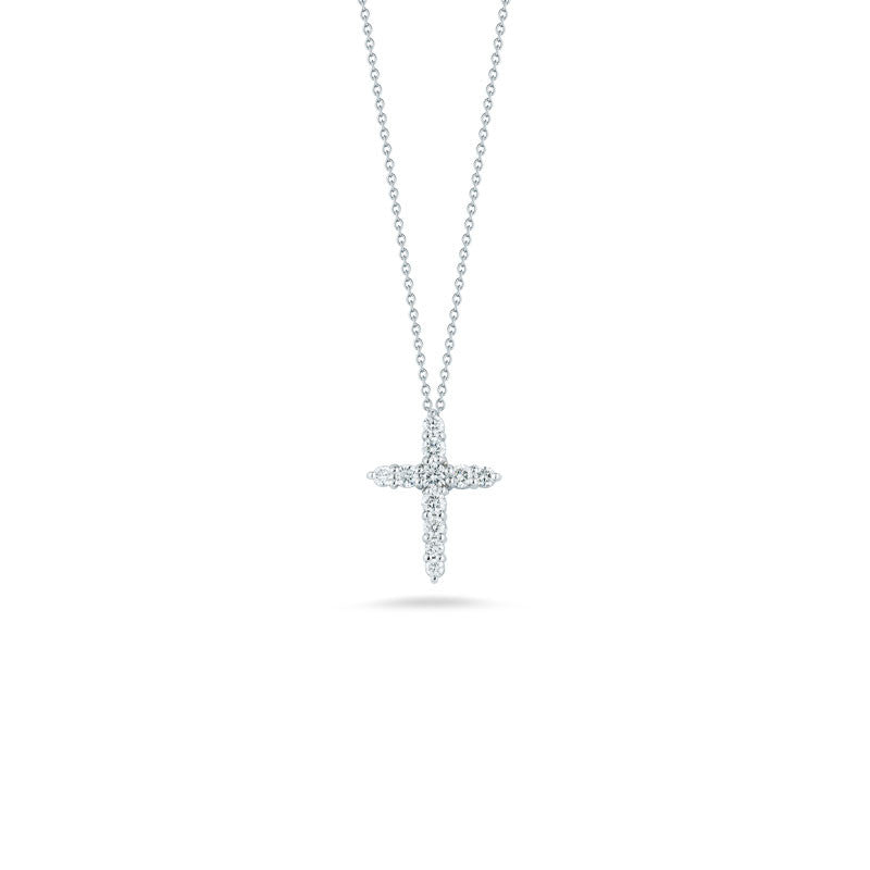 Tiny Treasures 18 karat white gold diamond cross pendant